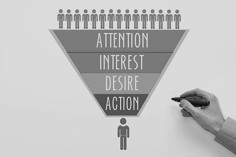AIDA attention, interest, desire, action model with hand holding a pen
