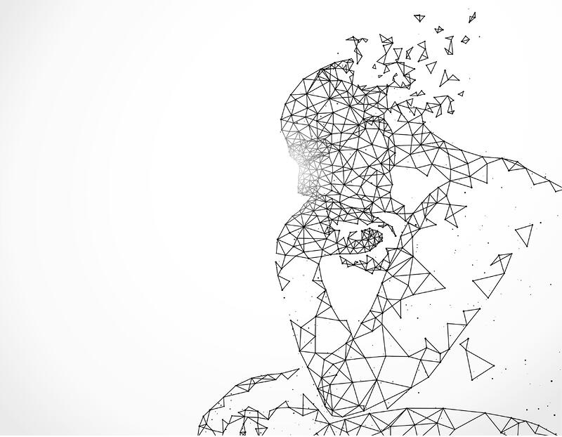 lines connected into shape of artificial intelligence person