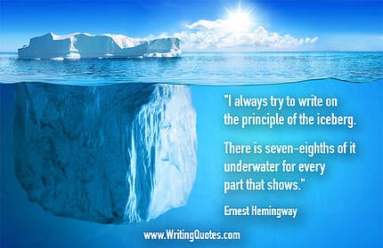 iceberg theory quote from Ernest Hemingway with iceberg floating in water