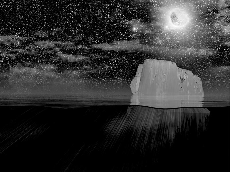 iceberg floating in arctic ocean at night with moon in the sky