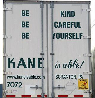 Kane truck with brand messaging